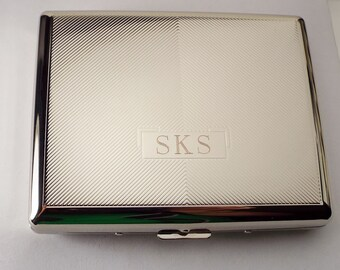Custom Engraved Cigarette Case Personalized Double Sided 100s Textured Design Case  -Hand Engraved
