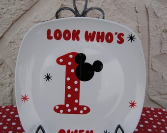 Mickey mouse 1st birthday plate decal
