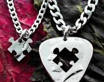 Guitar Pick Necklace with a hand cut puzzle