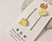 Ceramic Pottery Striped Heart Hair Clips - Hair Grips - Bobby Pins - Set of Two - Golden Yellow and Fresh Green