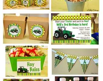 Tractor Birthday Party Mini Package...Custom, Printable DIY Package