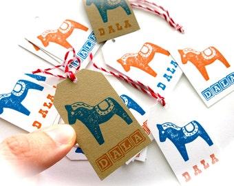Dala Horse Gift Tags-Baker's Dozen 13-Orange & Blue on White or Kraft Brown-Swedish Stationary-Scandinavian Gift Wrap-DALA-Hand Stamped Tags