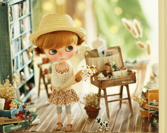 Miss yo 2015 Summer & Autumn - Mori Style Knitted Hollow Pattern Singlet Sweater for Blythe doll - dress / outfit - White