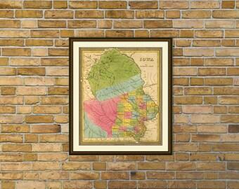 Iowa map - Old map of Iowa - Wonderful map fine print