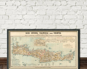 Crete map - Wonderful vintage map of Crete (Greece) - fine print