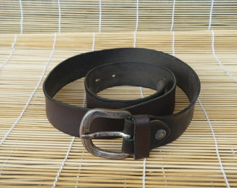 "Vintage Aged Brown Leather Belt Fits from 31"" to 35"" waist"