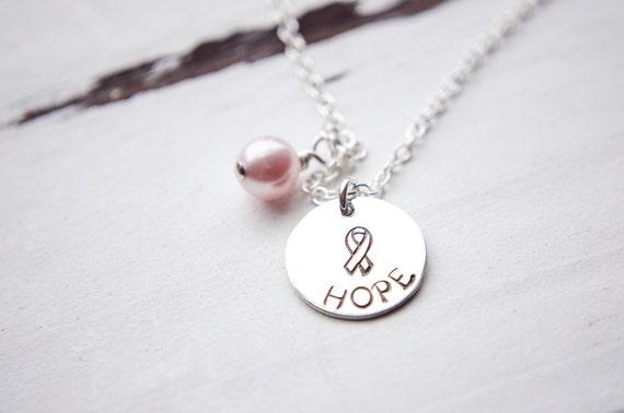 Sterling Silver Hope Necklace | Cancer Awareness  Survivor Fighter Ribbon Breast Lung Brain Ovarian Pancreatic Prostate Bladder Rectal Colon
