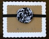 Black White Headband - Skinny Elastic Headband - Fabric Headband - Baby Headband