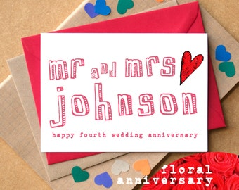 Fourth Anniversary Card - Flowers Anniversary Card - Floral Anniversary Card - Personalised Mr and Mrs Card - wedding anniversary card