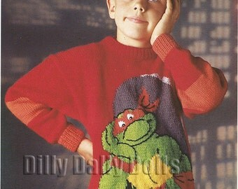 Michaelangelo Teenage Mutant Hero Turtles sweater knitting Pattern in Double Knit yarn to fit 26 to 40 inch chest