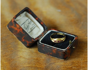 antique victorian ruby and diamond 18K gold ring