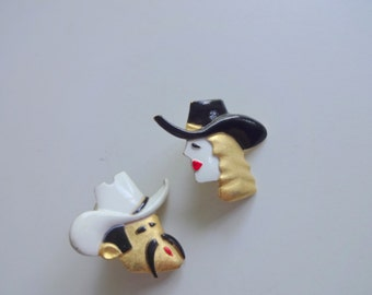 Vintage AJC Cowboy and Cowgirl Earrings 1980s