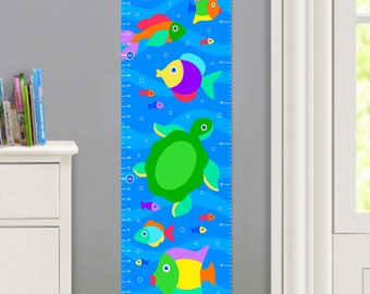 Kids Personalized Something Fishy Canvas Growth Chart, Kids Bedroom Decor, High Quality Canvas Growth Chart, Nursery Wall Art, Very Cute
