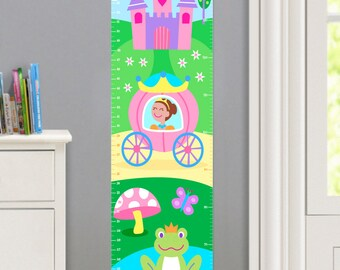 Kids Personalized Princess Canvas Growth Chart, Girls Bedroom Decor, High Quality Canvas Growth Chart, Nursery Wall Decor, Dark Skin
