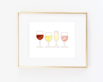 Christmas gift for mom - Gift ideas for wife - Gift for her - Bar Cart Art, Wine Art, Wall art, Chardonnay, Pinot Grigio, Riesling, Merlot