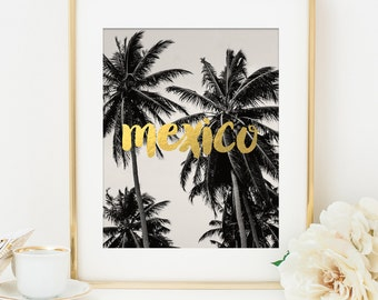 Mexico Art Print, Mexico Print, Gold Art Print, Faux Gold Foil, Home Office Decor, Bridesmaid Gift, Destination Wedding Gift, Palm Tree Art