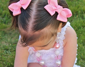 Light Pink Pigtail Bow Set - Pigtail Bows  - Pink Pig Tail Bows