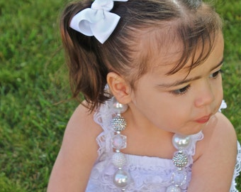 White Bubblegum Necklace - White and Silver Necklace - White Baby Necklace