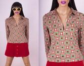 70s Trippy Zip Up Shirt