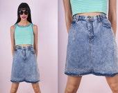 80s Acid Wash Denim High Waisted Skirt