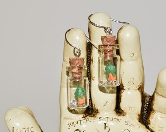 Dangle Earrings, Rose in Bottle, Drop Earrings, Rose Jewelry, Bottle Earrings, Orange Rose, Flower Earrings, Rose Earrings, Bottle Jewelry