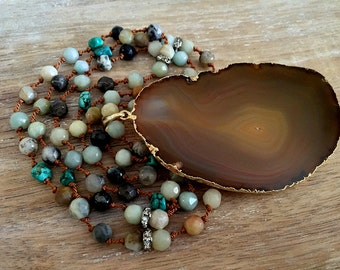 Brown Agate Slice Necklace // Gold Edged Geode, Natural Stone Beaded, Turquoise, Knotted Silk Cord, Pave Rhinestone Bead, Mineral Rock, Long
