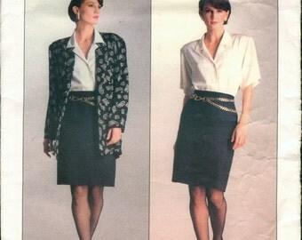 Uncut Vintage 1980s Vogue American Designer 2051 Anne Klein Suit, Jacket, Skirt and Shirt Sewing Pattern B31.5