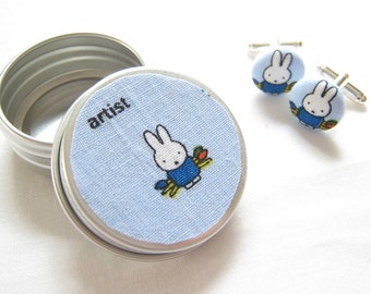 Miffy rabbit cufflinks. Cute fabric button cuff links of Miffy the painter. In a dinky gift tin.
