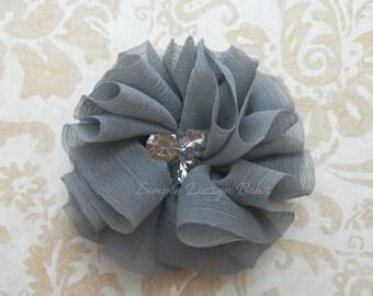 "Grey Hair Flower - Grey Flower Clip - 2 1/4"" MOLLY FLOWER - Chiffon Hair Flower - Hair Flowers - Rhinestone Flower"