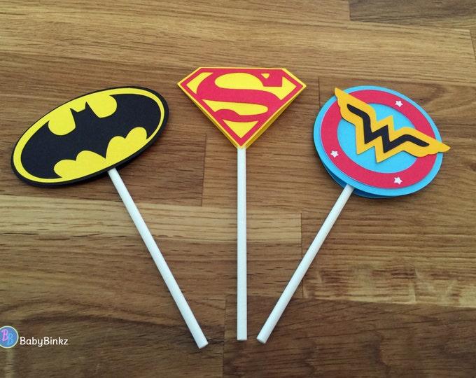 Die Cut Justice League Super Hero Cupcake Toppers - dc comics inspired superman batman wonder woman birthday party decorations wedding