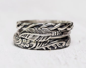 Sterling Silver Feather Ring Set - Boho - Sterling Silver Stacking Rings - Bohemian - Ethical Silver - Gift For Her