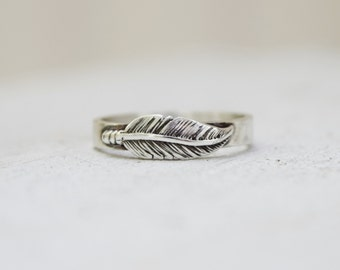 sterling silver feather band - modern ring - feather jewelry - boho ring - wedding ring - thumb ring - promise ring