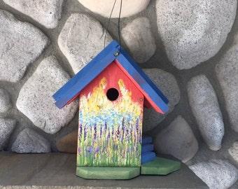 Birdhouse, Hand Painted Bird House, Functional Birdhouses for Cavity Nesting Birds, Bird Supply,Item#BH87417