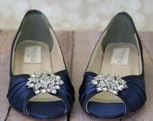 Wedding Shoes -- Navy Blue Peeptoe Wedge Wedding Shoes with Classic Rhinestone Cluster