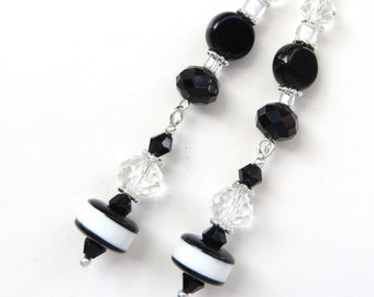 BLACK AND WHITE- Long Dangle Beaded Earrings- Glass Beads and Sparkling Crystals- Stainless Steel French Hook Earwires