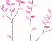 Delicate watercolor branches illustration. Abstract bush or trees drawing. Pink leaves growing. Modern home decor. Original artwork.