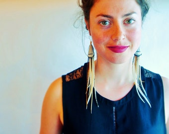 Long Grizzly Feather Earrings