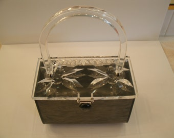 Vintage Rialto Lucite Purse with Clear Handle and Carved Lucite Top - Marbled Grey Handbag - Gray Bag