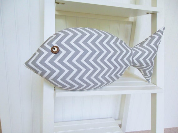 Neutral beach decor gray chevron pillow fish by for Fish shaped pillow
