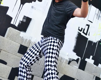 FESTIVAL SALE! Glitter Britches Black/White Diamond Check Men's Dance Pant; Checkered Past