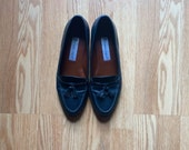 "Etienne Aigner ""Ally"" Leather Navy Loafers 8M"
