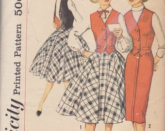 1950s Teen Rockabilly Separates Vintage Pattern, Simplicity 2596, Circle or Pencil, Wiggle, Slim Skirt, Tailored Vest Weskit, Sock Hop
