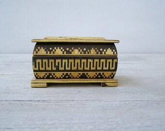 Jewelry Wood Box Small, Micro Mosaic Box, Inlaid Wood Stripes Box Geometric, Moroccan Khatam Marquetry Trinket Box Collector's Box Folk Art