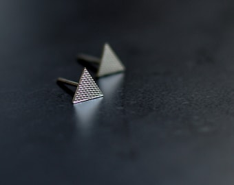 Sterling Silver Earrings, Textured, Triangles, Ear Studs, Modern, Contemporary, Geometric, Minimal