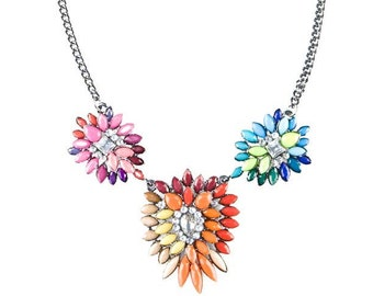 Colorful Three Pendant Statement Necklace