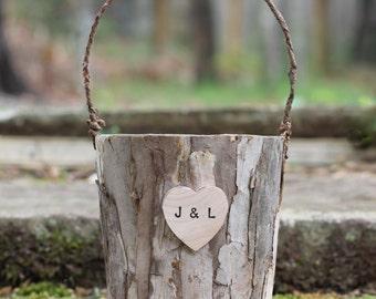 Rustic Flower Girl Basket Tree Bark Personalized Rustic Weddings