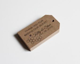 """Favor Tags Wedding or Baby Shower for Gifts in a Honey Bee Honeycomb """"Thank You for Beeing our Guest"""" 50"""