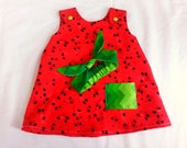 Watermelon baby dress and headwrap - 3 to 6 months - infant dress and head wrap - baby jumper - sun dress - baby pinafore - baby shower gift