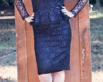 Vintage Gunne Sax Jessica McClintock Blue Hourglass Peplum Lace Pin Up Rockabilly Dress