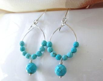 Turquoise Earrings Dangle Earrings Beaded Hoop Sterling Silver Turquoise Bridesmaid Earrings Wedding Jewelry Natural Stone Earrings